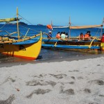 Boats (bangkas) on the shore of the beach